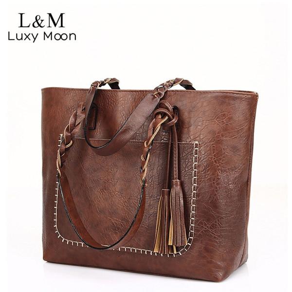 Vintage sac à main femmes en cuir brun sac à bandoulière dames rétro fourre-tout grands sacs à main en PU bolso 2019 mode Big Black Bags XA540D # 94554