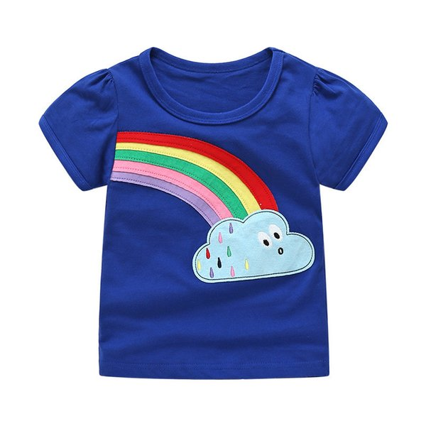 Jumping meters Baby girls t shirts cotton clothing applique rainbow summer children t shirts 2018 new kids tops tees girls wear