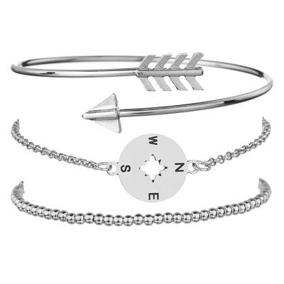3 Pcsset Bohemian Hollow Arrow Compass Beads Chain Silver Multilayer Bracelet Women Exquisite Charm Jewelry Gift BB55