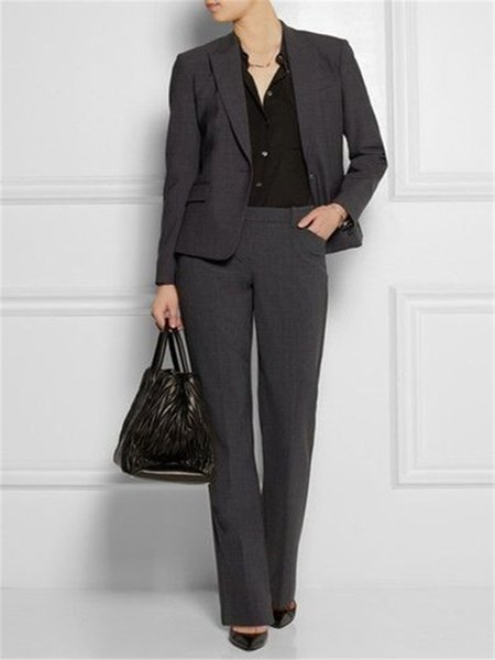 Office Lady Suit Set 2 Pieces Blazer with Trousers Formal Suit Uniform Designs Women Business for Work