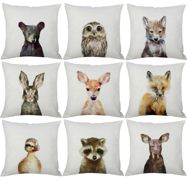 best selling 17 Styles Lovely Animals Cushion Covers Fawn Deer Fox Rabbot Bear Panda Dog Painting Cushion Cover Sofa Throw Decorative Linen Pillow Case