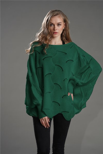 2019 Autumn women hollow out avocado green sweater Casual Hem Batwing Sleeve Hollow Out Loose Sweaters long sleeve solid plain high quality