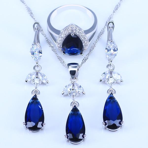 Água clássico gota azul Cubic Zirconia Branco CZ 925 prata conjuntos de jóias para as mulheres brincos pingente / / colar / Anéis