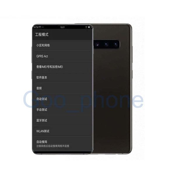 DHL Goophone Huellas dactilares desbloqueadas Dual sim Smart Phones S10 + Quad Core1GB 8GB Se muestran 128G falsos 4G LTE 6.4inch HD Teléfonos celulares