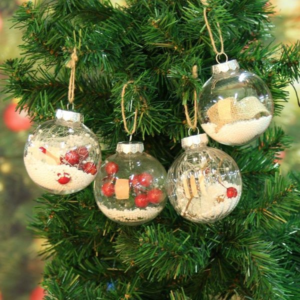 Christmas Tree Transparency Ball Pendant Ornaments Hanging Christmas Decorations Light Ball Home Festival Party Xmas Decor Gift