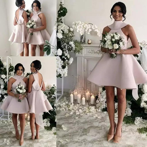 2019 Vintage 1950s Style Short Halter Satin Bow Back Bridesmaids Formal Dresses A-Line High Neck Backless Short Sleeve Knee Length Glamorous