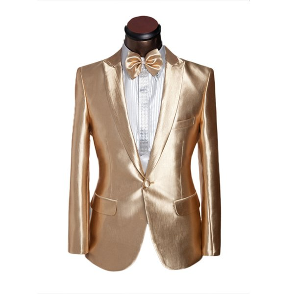Latest Coat Pant Designs Gold Satin Men Suit Prom Jacket Slim Fit Tuxedo Custom Groom Stage Suits Blazer Masculino 2 Pieces