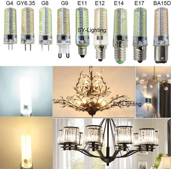 G4 GY6.35 G8 G9 E11 E12 E14 E17 BA15D 80-4014 SMD LED Bulb Light Silicone Crystal Lamp AC 110V/220V (Package of 10)