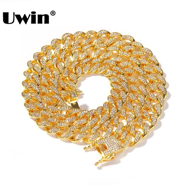Uwin Miami Cuban Link Chain Necklace 13mm Completo Bling Bling Iced Out Strass Argento Color Oro Collana di gioielli di moda SH190713