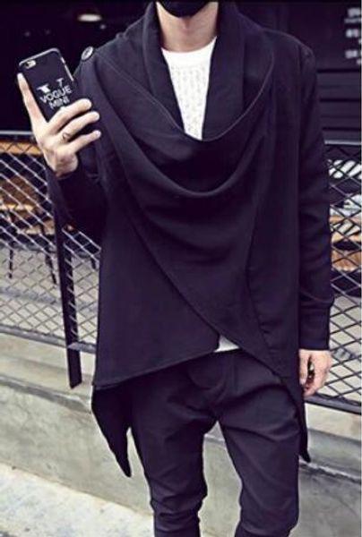 S-5XL ! Plus size Korean Men's New clothing Male long-sleeve sweatshirt medium-long trench buckle cardigan two ways