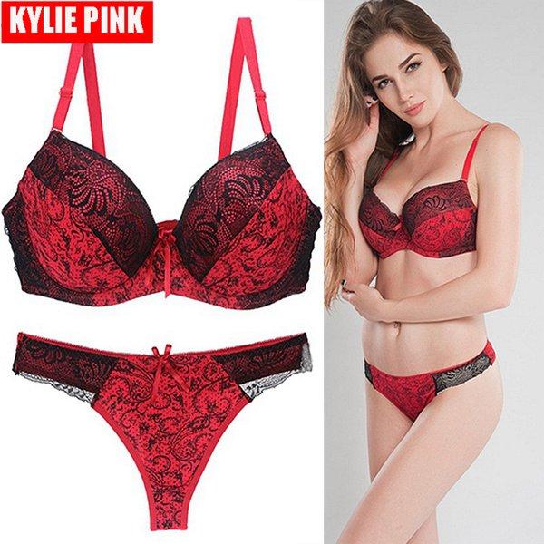Kylie rosa novas mulheres sutiã e calcinha conjunto sexy lace sutiãs push up lingerie underwear para senhoras plus size 75b-95dd