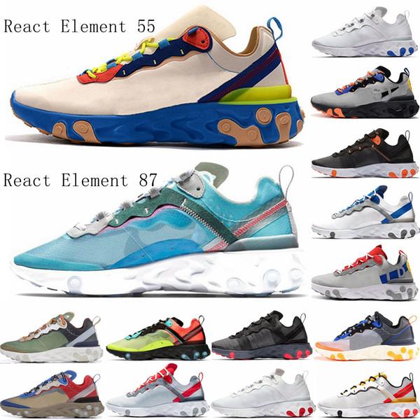 top popular New UNDERCOVER x Upcoming React Element 87 react 55 Pack White Sneakers Brand Men Women Trainer Men Women Designer Running Shoes Zapatos 2019
