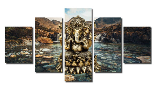 Modern Living Room Wall 5 Panel India Elephant Head God Home Decor Art Painting Modular Pictures Canvas No Frame