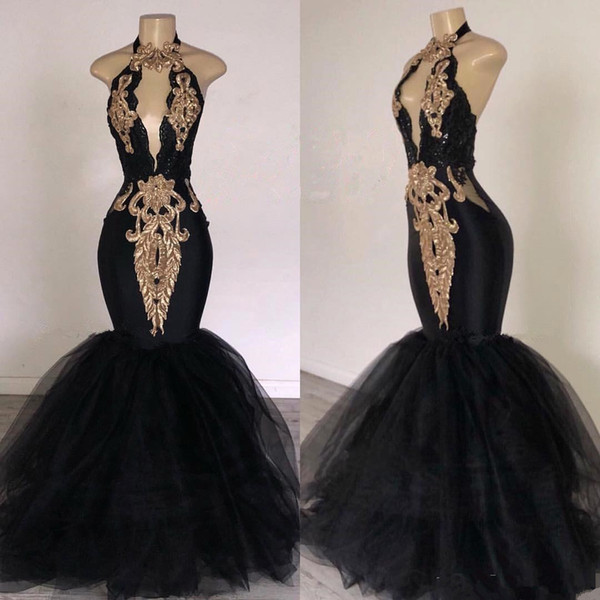 Abiti da ballo sexy 2019 neri con sirena appliquata oro Sudafrica Abito da sera formale con scollo all'americana abito da festa Abiti da festa