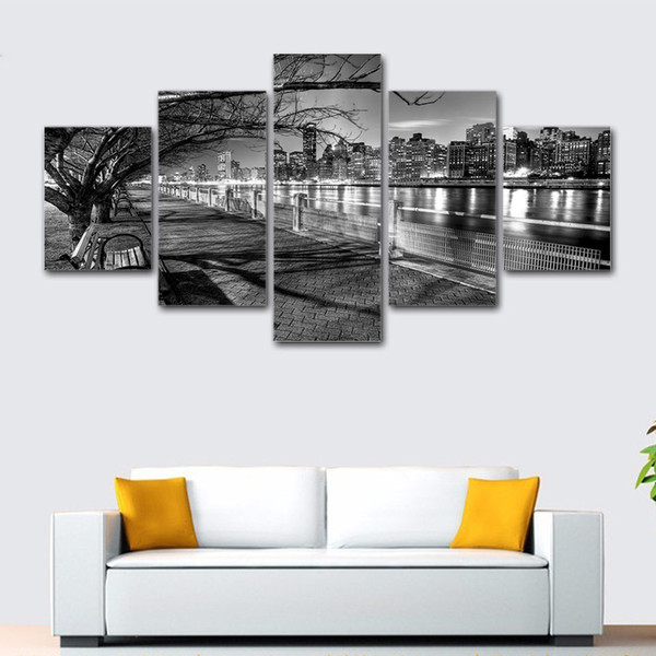 5 Piece canvas painting Black and white night street view art wall Home Decoration For Living Room HD Prints Poster