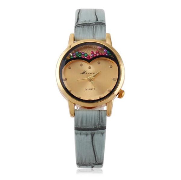 Nueva tendencia Grano de bambú forma de amor corazón pequeño dial mujeres relojes de cuero simples damas ocasionales estudiantes vestido de cuarzo vestido de fiesta