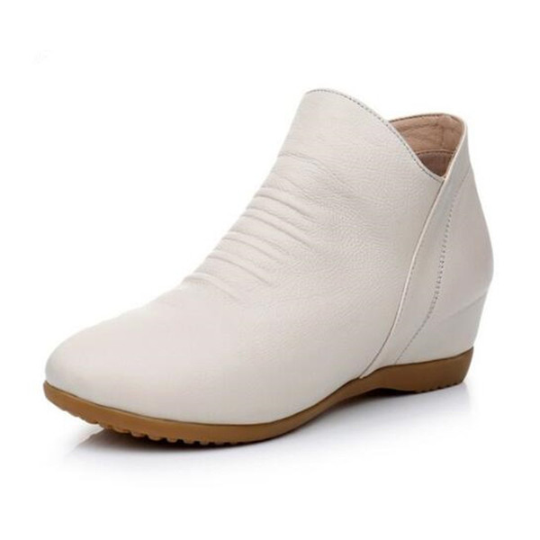 Light and Elegant flat Increase Within Women Shoes Ankle Boots 2019 Newest Plus Velvet Winter Boots Soft Cowhide Leather Shoes Size 33-43