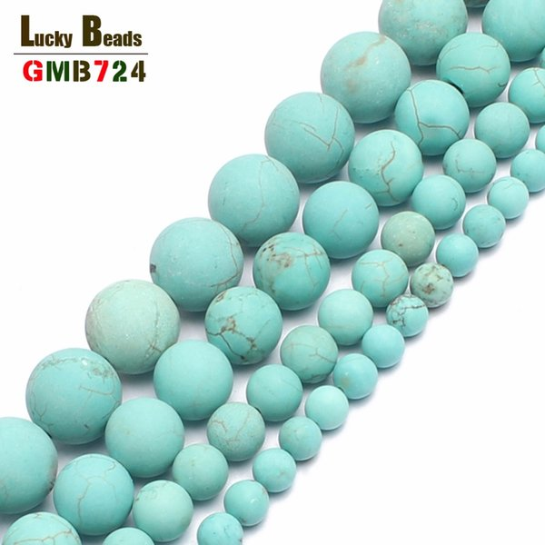 Natural Matte Turquoises Stone Round For Jewelry Making Bracelet 4/6/8/10mm Spacer Beads Diy Jewelry
