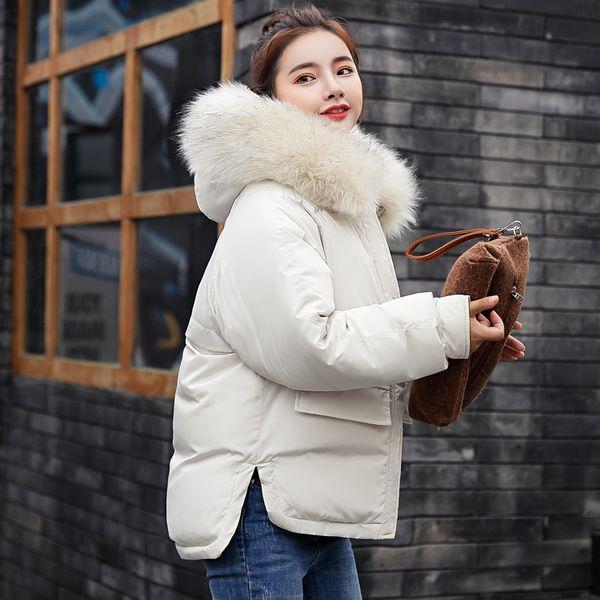 Veste d'hiver femme grand col de fourrure doudoune ouatée femme vestes en coton rembourré épaississement femmes manteau d'hiver usine SH190902