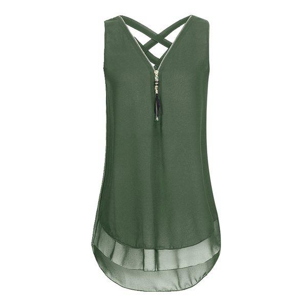 Tendências verdes Novas Blusas Camisa Chiffon Das Mulheres Verão Blusa Feminina Sexy Harajuku Com Decote Em V Sem Mangas Tendências Casuais Moda Camiseta Colete