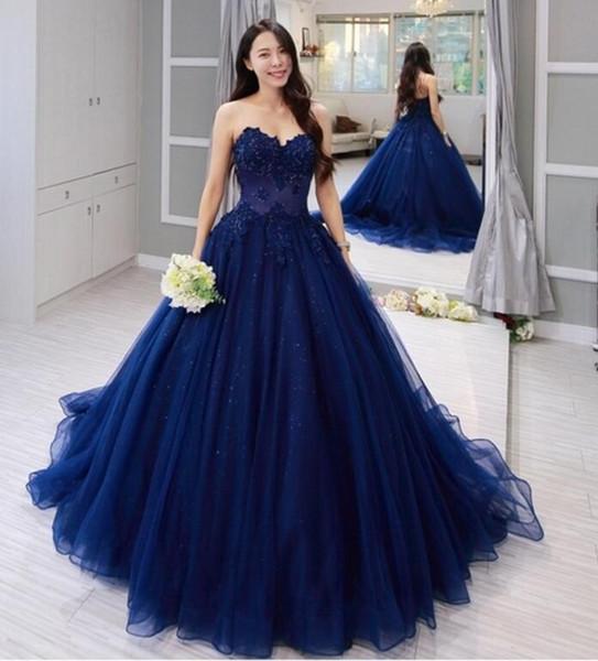 Compre Vestido De Fiesta Azul Marino Vestidos Largos De Baile 2019 Corsé Cariño Volver Abalorios De Encaje De Tul Adolescentes Vestidos De Fiesta De
