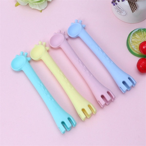 cute baby training spoon fork teether pure color giraffe bpa chewable silicone baby feeding gai - from $3.96