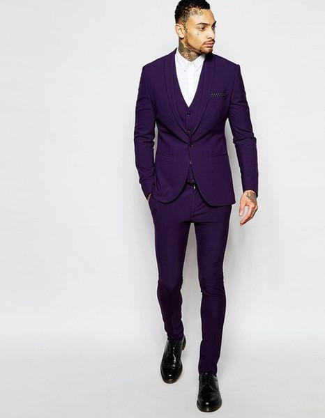 New Popular Purple best man groom wedding dress,Excellent Men Business Activity Suit Party Prom Suit(jacket+pants+vest+tie)NO:350