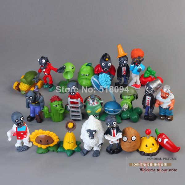 24 unids / lote Pvz Plants Vs Zombies Figuras 3-8 cm Plantas Y Zombies Pvc Figuras de Acción Juguetes de Colección Boy Regalos Y19062901