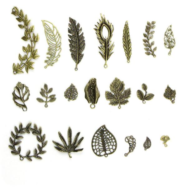 20pcs / lot hot new Bronze mignon feuilles charms connecteurs pour collier de bricolage Bracelet pendentif bijoux fabrication accessoires matériel