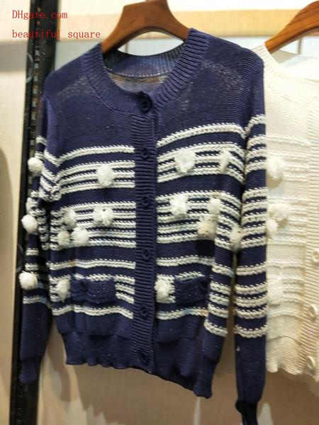 2019 marque femmes pull en tricot col rond à manches longues boule de cheveux simple boutonnage en maille top femmes en tricot cardigan top qualité femmes vêtements TS-9