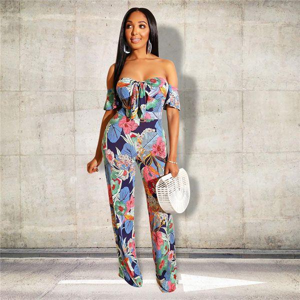 Mode Femmes Combinaison Hors Épaule Dos Nu Barboteuses Designer Bohème Floral Print Combinaisons Été Body Une Pièce S-2XL