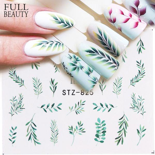 24 stücke Wasser Nagel Aufkleber und Sticker Blume Blatt Baum Grün Einfache Sommer Slider für Maniküre Nail art Wasserzeichen Tipps