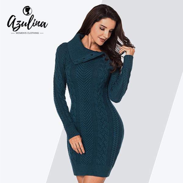 Kleidung Von Frauen Mantel Kleider Weibliche Pullover Knöpfe LangarmFigurbetontes Umlegekragen Damen Großhandel 2019 Feste Kleid 80mwnN