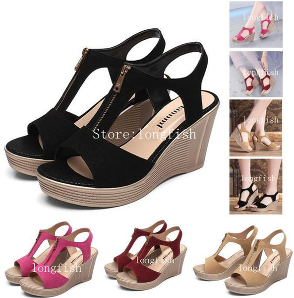 a28acd9bcd6 Large Size Women Sandals 2019 Summer Women Sandals Waterproof Platform New  Leather High Heeled Slope With Fish Mouth Women Casual Shoes Black Sandals  ...