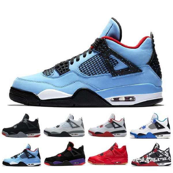 Nuevo Nike air jordan retro 4 4s Bred Pure Money Denim CAVS LS Angry Bull Jeans Travis Baloncesto Zapatos Hombres Blue Jeans Sneakers High Quality With Shoes
