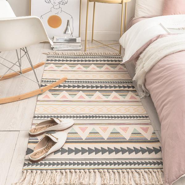SKTEZO Coton et lin Tassel Tissé Tapis Tapis de sol Porte Chambre Tapisserie Tapisserie Couverture décorative Salon Tapis tapis