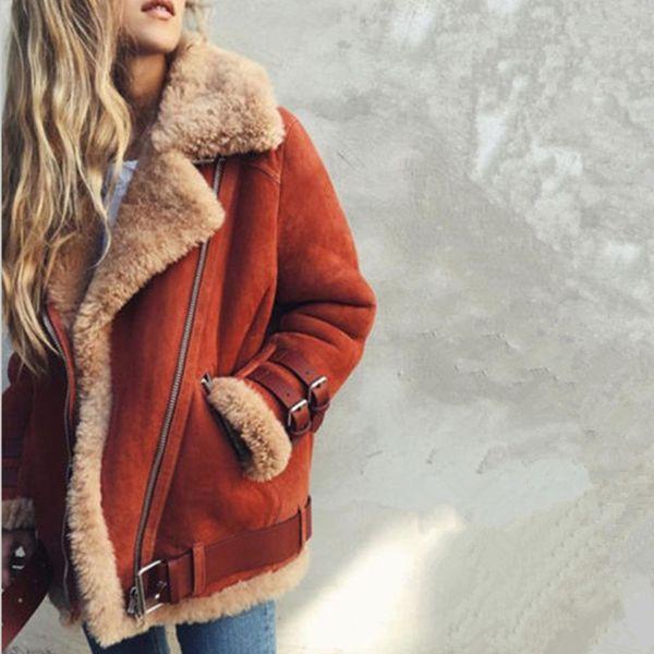 Womens Lambs Wool Coat Aviator Leather Jacket Winter Thick Women Lapel Fur Coat Tops hot sale