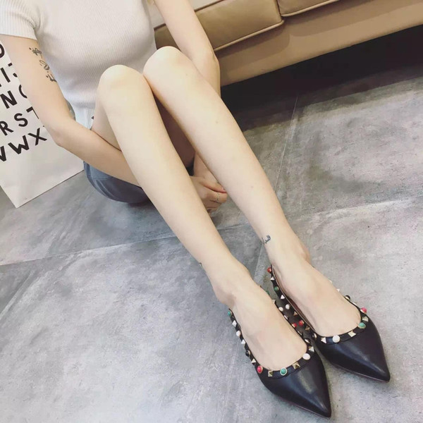 Tailor made! fashion women b108 40/41/42 genuine leather red green black gem pointy flats ballerina shoes red black white nude