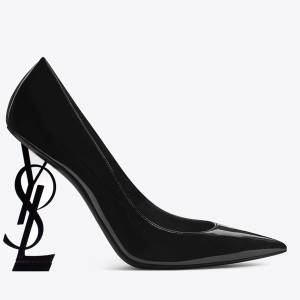 10cm Chaussures à talon Lettre cuir verni talon mode chaussures de mariage de mariée modestes Femmes Mode Party robe de soirée Chaussures 1