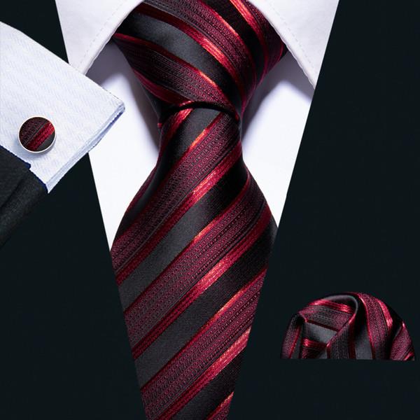 Новый мужчина Престижное шеи галстук для мужчин Бизнес Красный Полосатый 100% Silk Tie Set Barry.Wang Fashion Design Neckwear