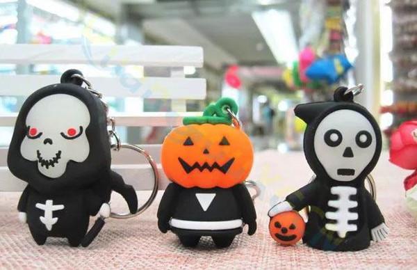 Luminous Halloween Keychain devil skull Pumpkin Death key chains Ornaments car key rings Kindergarten Prizes Party Events Gifts