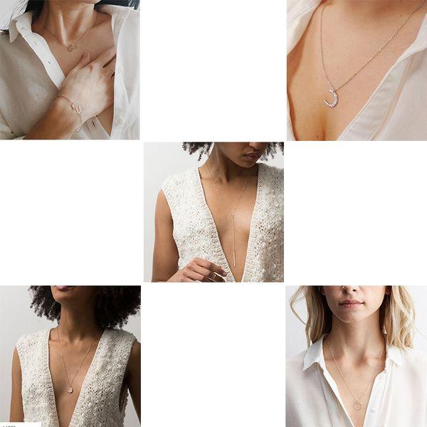 Catena lunga CC doppio cerchio Stick elegante del pendente Luna collane 100% 925 collana in argento per le donne Fine Jewelry