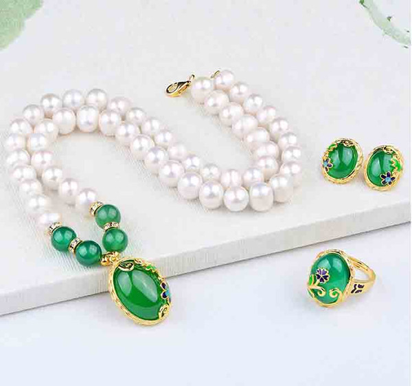 2020 Designer Freshwater Pearl Necklace With Agate Ring Ear Nails