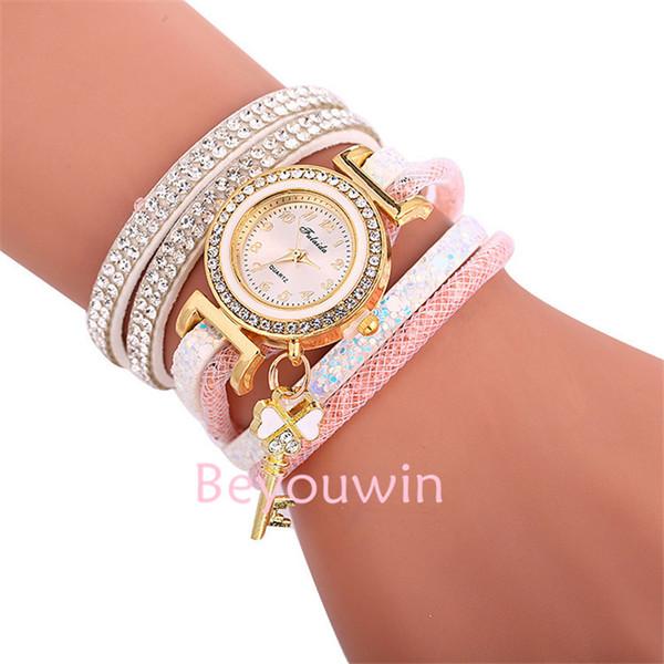 100pcs/lot fashion mini belt wrap around watch for women key pendant full crystal lady bracelet leather watch for girl lady