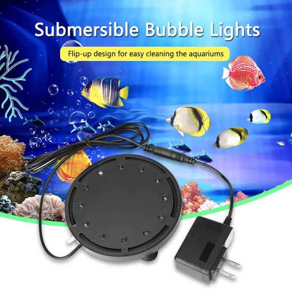 NUEVA lámpara de luz subacuática de 12 LED Luz sumergible de burbuja para piscina Acuario Pecera LED Luz de buceo a prueba de agua