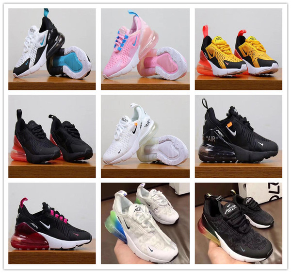 Nike Air MaX 270 Youth Running Shoes Kid Sneakers Air 27c Run Out Door Sports Shoe 270s Trainer Air Cushion Surface Size 28 35 White Kids Sneakers