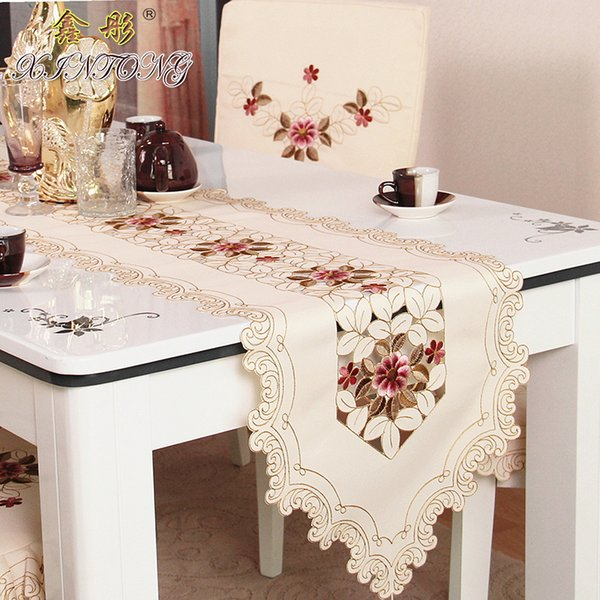 Europe embroidered table runner flag table cover cup mat 218 red rose flower TV cabinet cloth wedding home textile