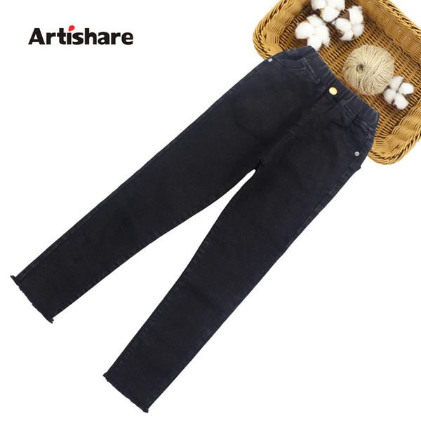 Pantalones vaqueros para niñas 2019 Pantalones de mezclilla de primavera Pantalones vaqueros para niñas Niños de alta calidad Adolescentes Ropa de mezclilla Niñas 6 8 10 12 13 14 Año