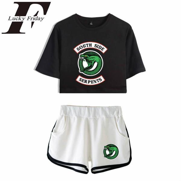 Luckyfridayf Riverdale Two Piece Set Verão Sexy 2018 Algodão Impresso T Shirt Álbum Mulher Novo Terno Shorts Culturas Top Shorts J190719