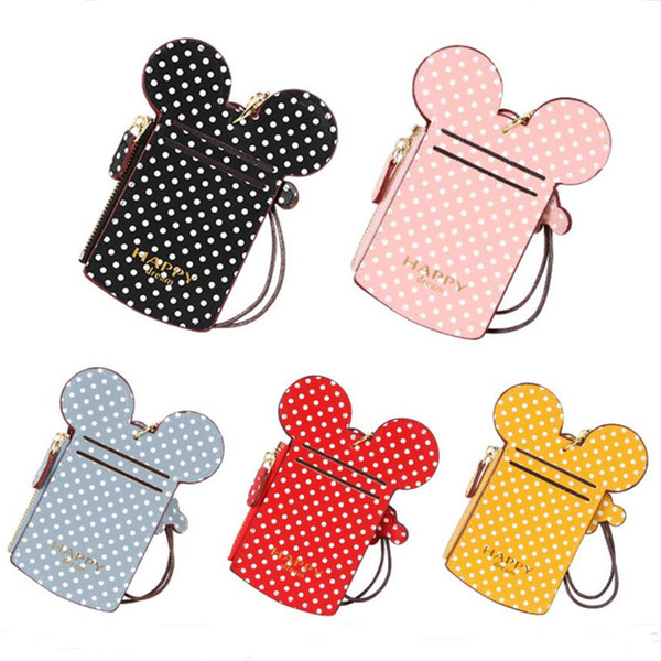 Happy dream card slot designer cards bags holder cartoon ears dots printed coin purse with Lanyard strap wallet Credit Card Holders A52109